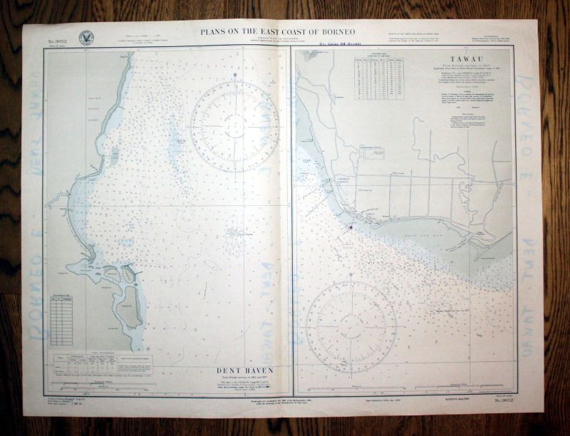 1938 Plans East Coast Borneo Dent Haven Tawau Asia Asien map Karte Plan plan 0
