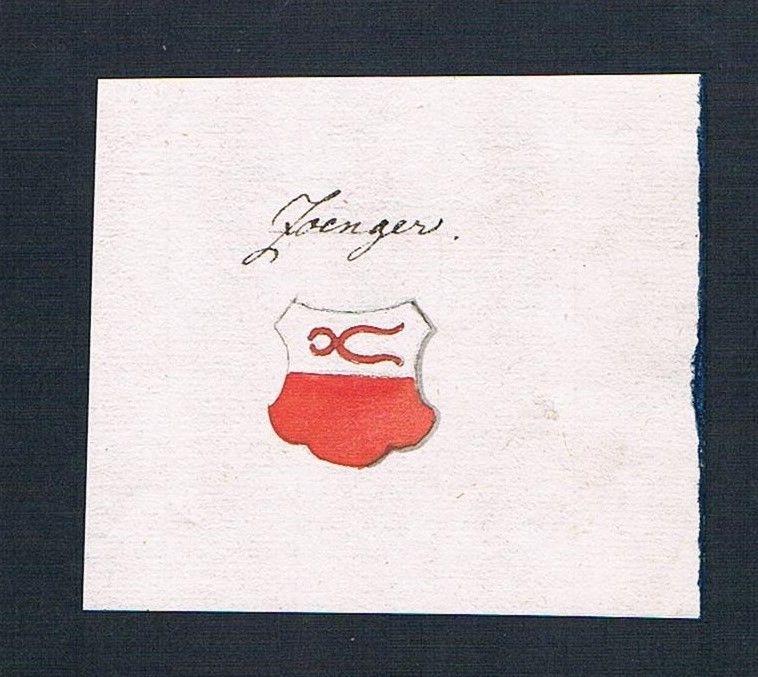 18. Jh. Zanger Handschrift Manuskript Wappen manuscript coat of arms