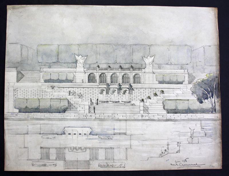 Brunnen fountain Zeichnung Architektur architecture design drawing Cuminal
