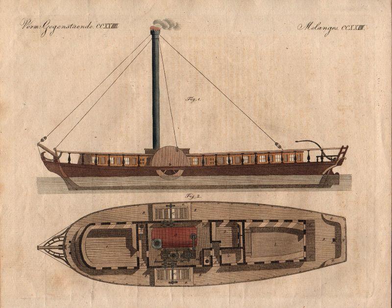 Dampfschiff Dampfer Dampfboot steamboat Bertuch Kupferstich engraving 1800