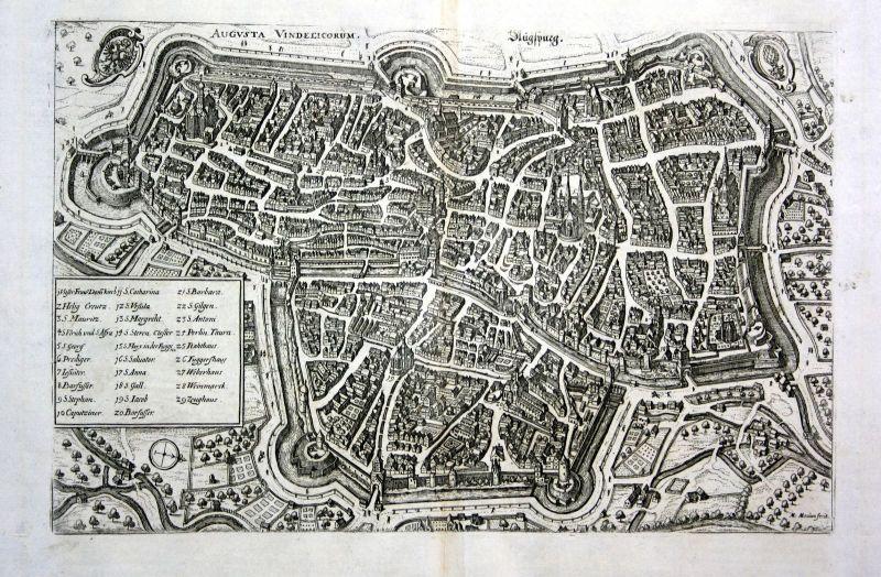 1734 Augsburg Gesamtansicht Karte map Plan Kupferstich antique print Merian
