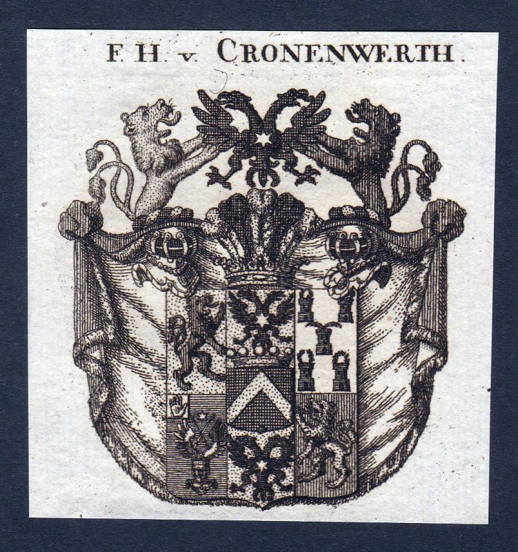 Ca. 1820 Cronenwerth Kronenwerth Wappen Adel coat of arms Kupferstich antique