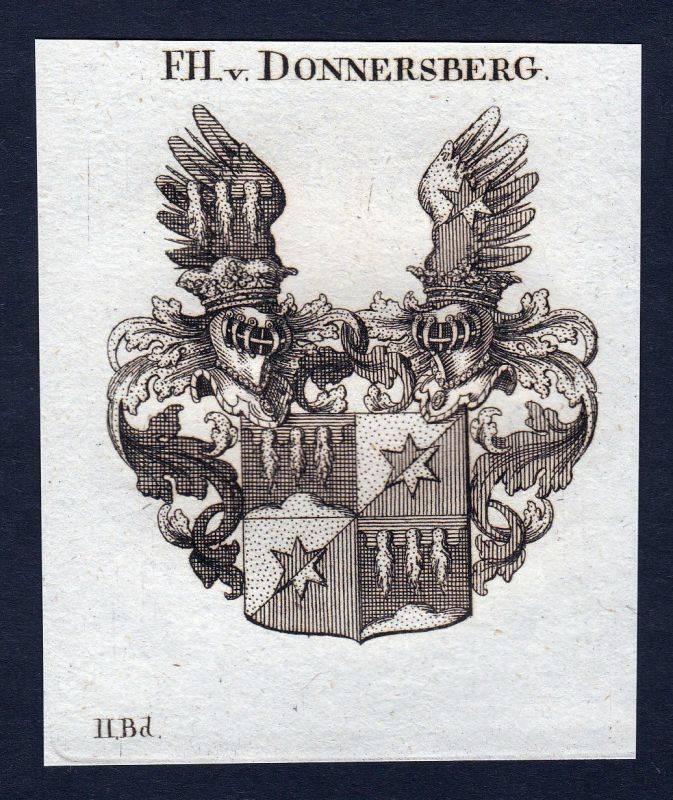 Ca. 1820 Donnersberg Wappen Adel coat of arms Kupferstich antique print h 143941