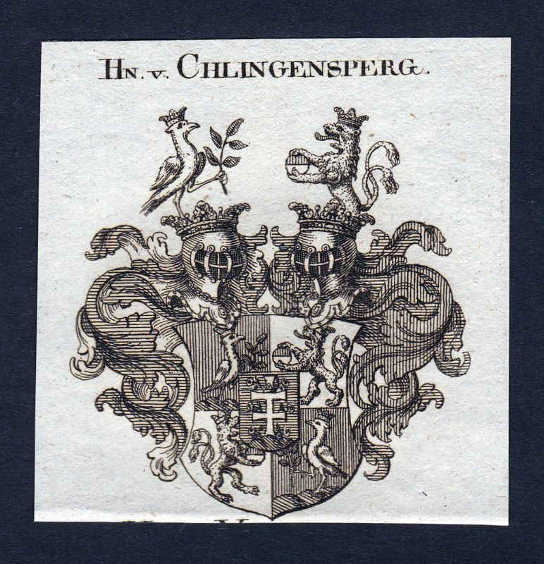 Ca. 1820 Chlingensperg Wappen Adel coat of arms Kupferstich antique print