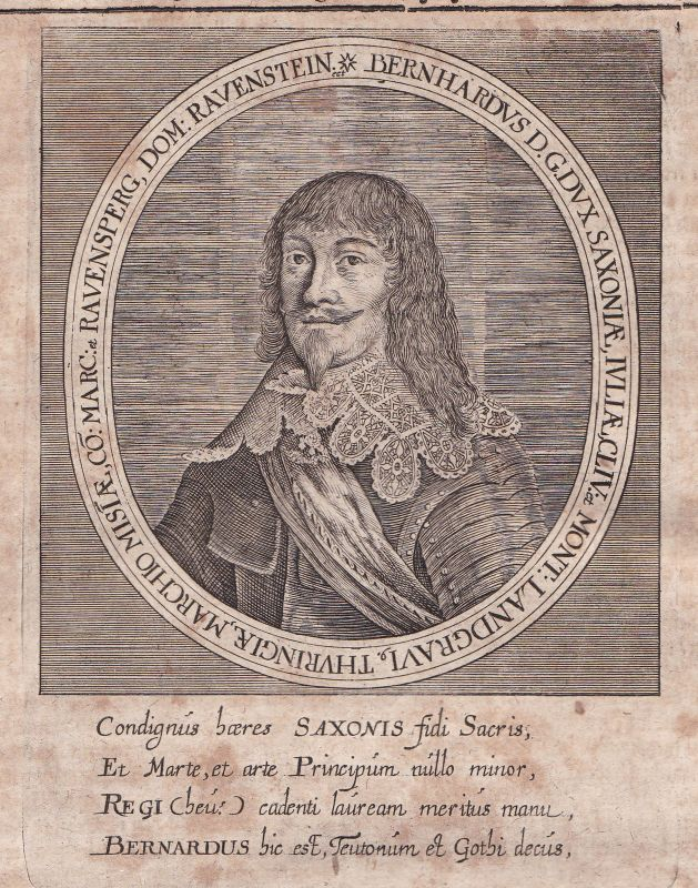 1650 Bernhard Sachsen Weimar Thüringen Potrait Kupferstich antique print Merian