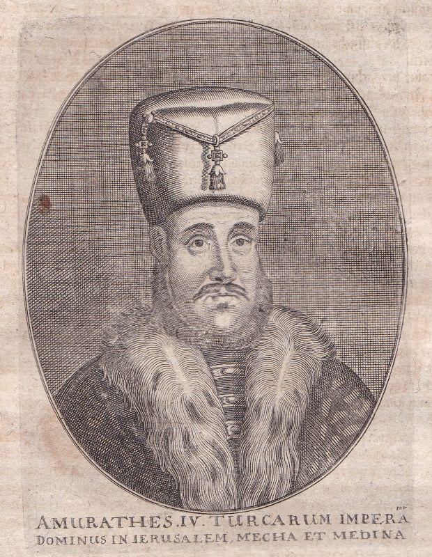 1650 Murad IV. Sultan Turkey Osman Empire Portrait Kupferstich antique print