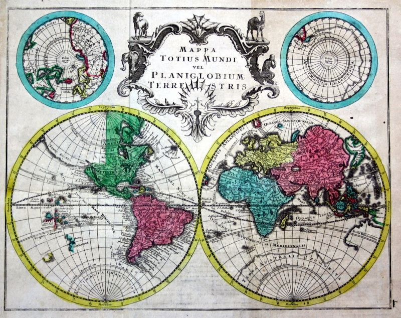 World map America Asia Europe Africa continents set of 5 maps chart Kilian 1