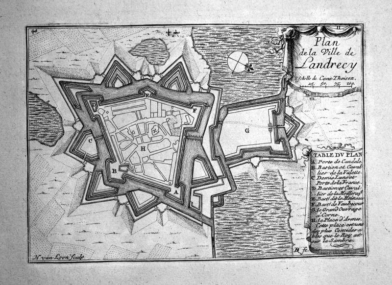 1680 Landrecies France plan carte map gravure Kupferstich engraving Beaulieu