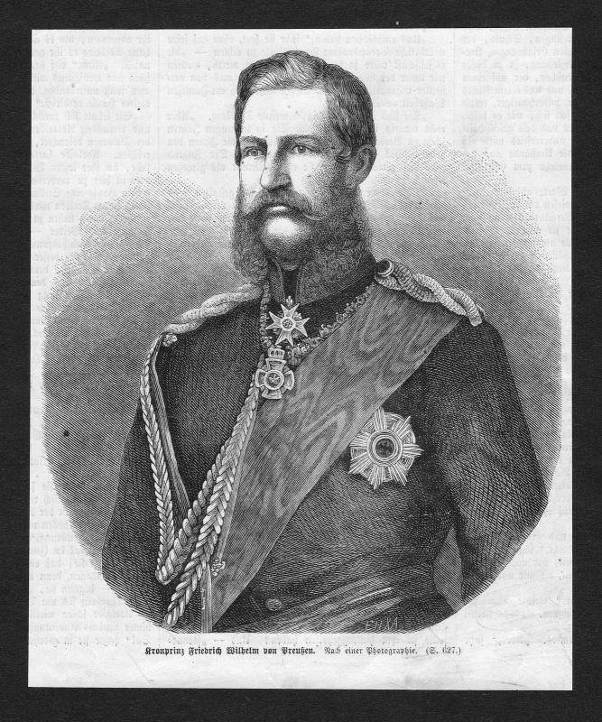 Friedrich Wilhelm von Preußen Kaiser Feldherr Portrait Holzstich antique print