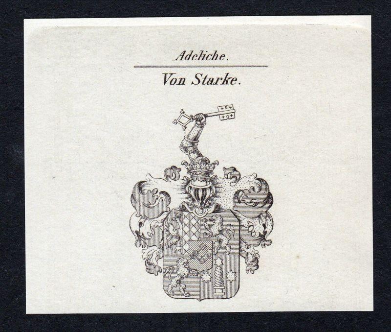 Ca. 1820 Starke Starcke Wappen Adel coat of arms Kupferstich antique print