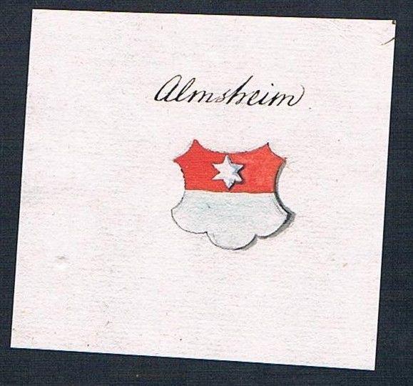 18. Jh. Almsheim Handschrift Manuskript Wappen manuscript coat of arms