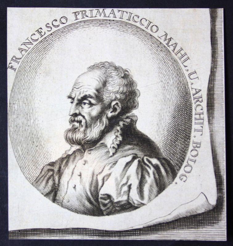 1700 Francesco Primaticcio Bildhauer sculptor Maler painter Kupferstich Portrait