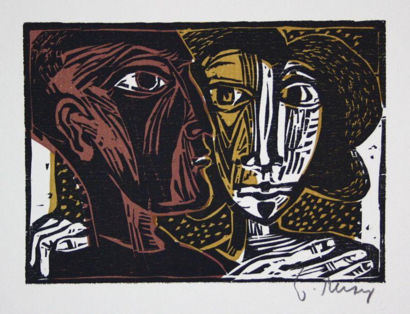 1976 Werner Persy Kleines Paar Dreifarben-Holzschnitt signiert Grafik