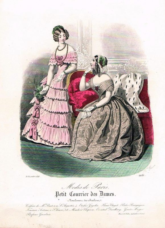 1846 Biedermeier Mode Kupferstich victorian fashion antique print etching  89720
