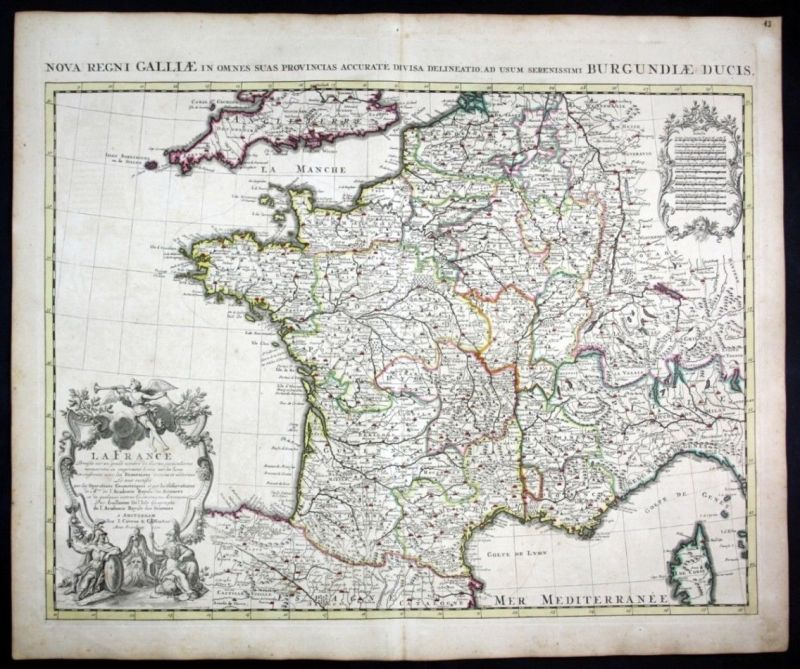 1721 France Frankreich map Karte Covens Mortier carte gravure engraving