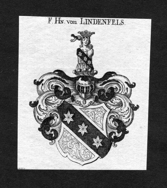 1820 - Lindenfels Wappen Adel coat of arms heradlry Heraldik Kupferstich