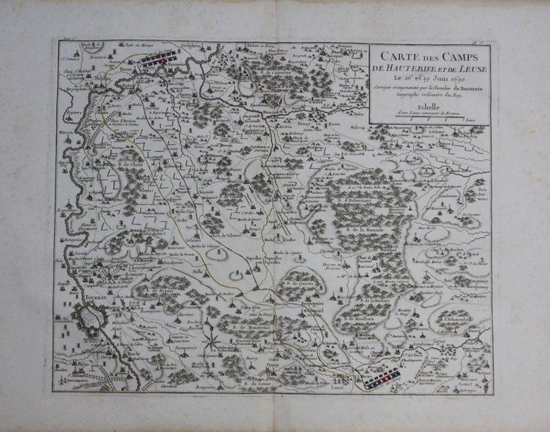 1760 - Tournai Avelgem Celles Ronse Leuze map Karte Kupferstich gravure