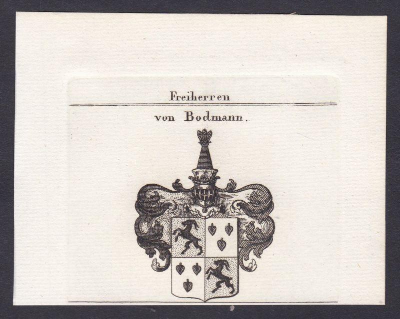 Bodman Bodmann Schwaben Wappen Adel coat of arms Kupferstich antique print