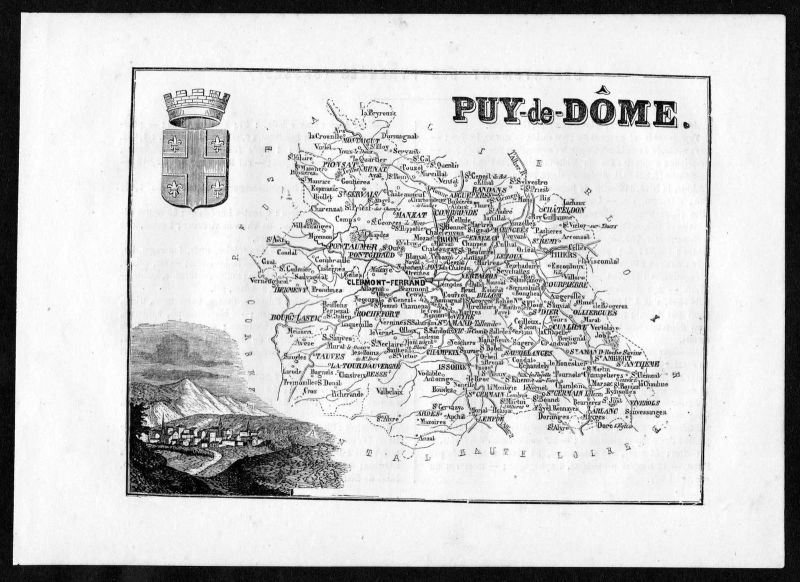 1860 - Puy-de-Dome Clermont-Ferrand Frankreich France Departement Karte map