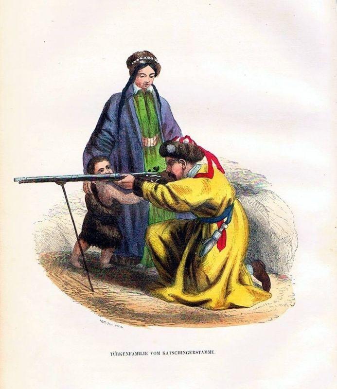 1845 - Türkei Turkey Trachten Holzstich costumes antique print