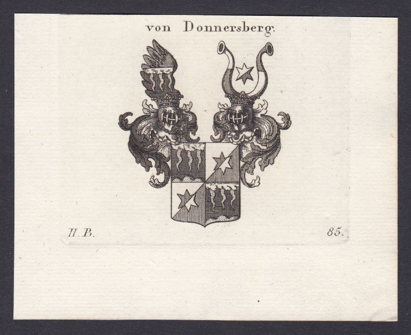 Donnersberg Bayern Wappen Adel coat of arms Heraldik Kupferstich antique print