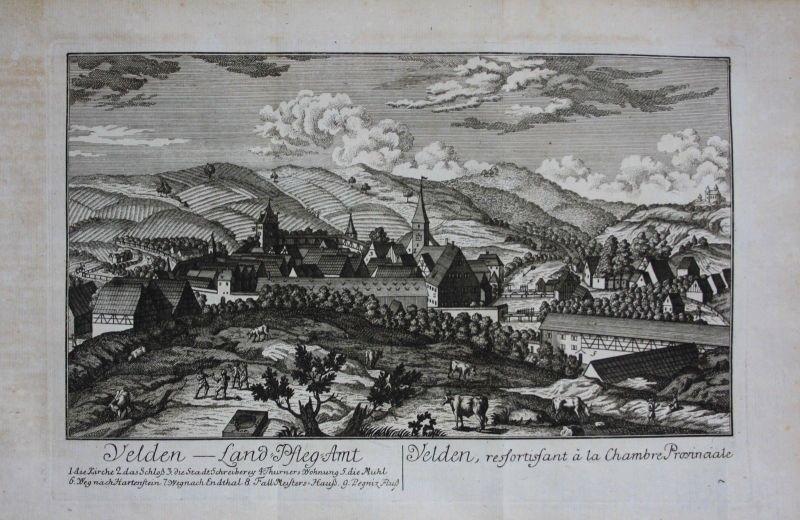 1760 - Velden Pegnitz Nürnberger Land Mittelfranken Kupferstich Roth
