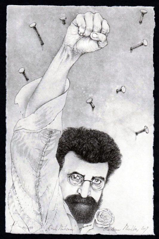 2009 Erich Mühsam Anarchist Radierung signiert Portrait Christian Mischke