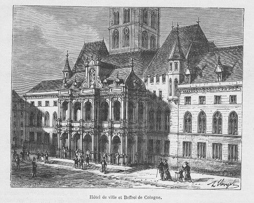 1880 - Köln Rathaus Original Holzstich wood engraving gravure