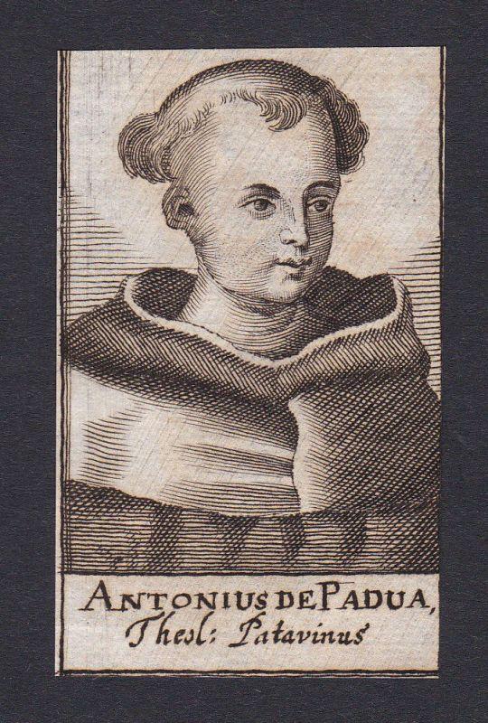 17. Jh. - Antonius von Padua / theologian Prediger Padova Portrait Kupferstich