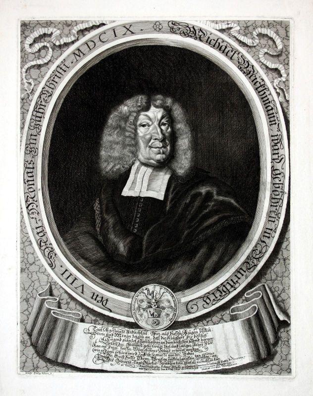 1686 Michael Weickmann Kaufmann Nürnberg Portrait Kupferstich Kilian engraving