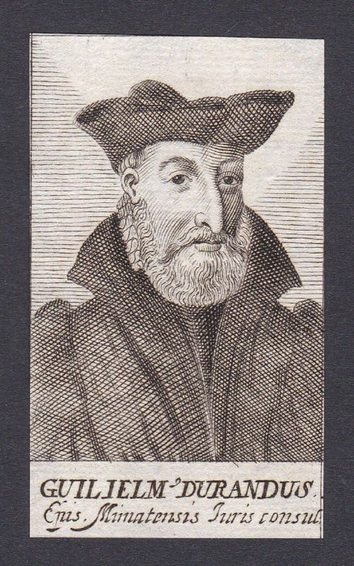 17. Jh. - Guillaume Durand / canonist writer Jurist France Portrait Kupferstich
