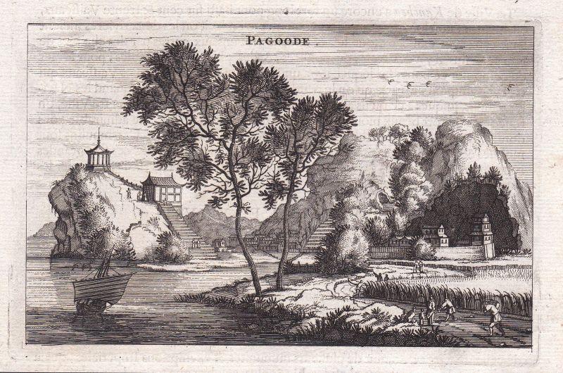 1670 China Asia Pagode pagoda Ansicht view Kupferstich antique print Nieuhof