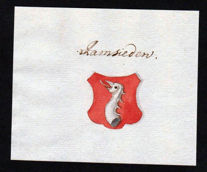 18. Jh. Ramseiden Handschrift Wappen Manuskript manuscript coat of arms