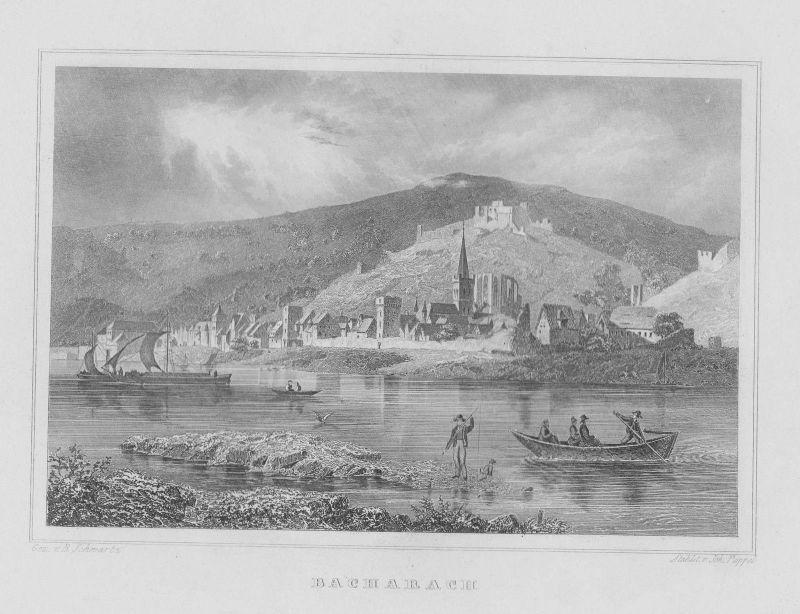 1840 - Bacharach Boote Mittelrheinkreis Rheinland-Pfalz Original Stahlstich