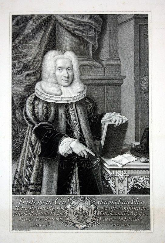 1744 Friedrich Gustav Finckler Jurist Nürnberg Kupferstich Portrait Preißler