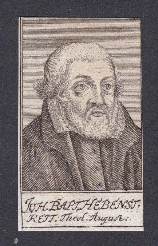 17. Jh. - Johann Baptist Hebenstreit / Theologe Augsburg Portrait Kupferstich