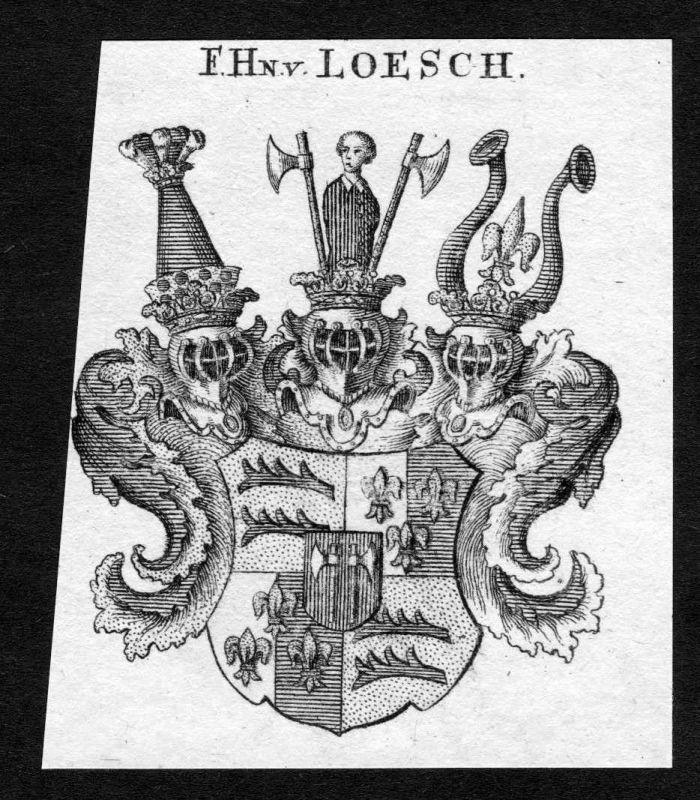 1820 - Loesch Wappen Adel coat of arms heradlry Heraldik Kupferstich