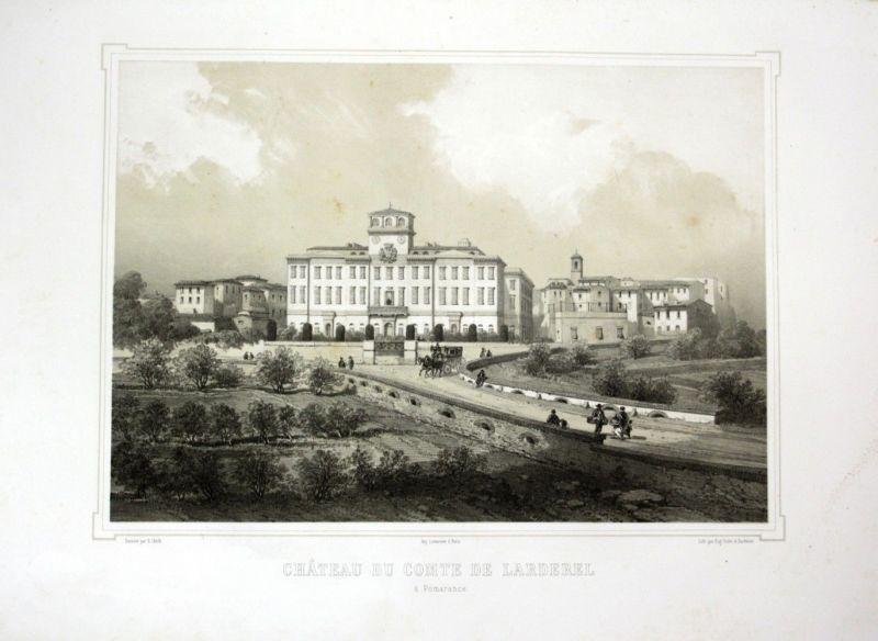 Ca. 1860 Pomarance Toskana Tuscany Italien Ansicht veduta Lithographie Litho
