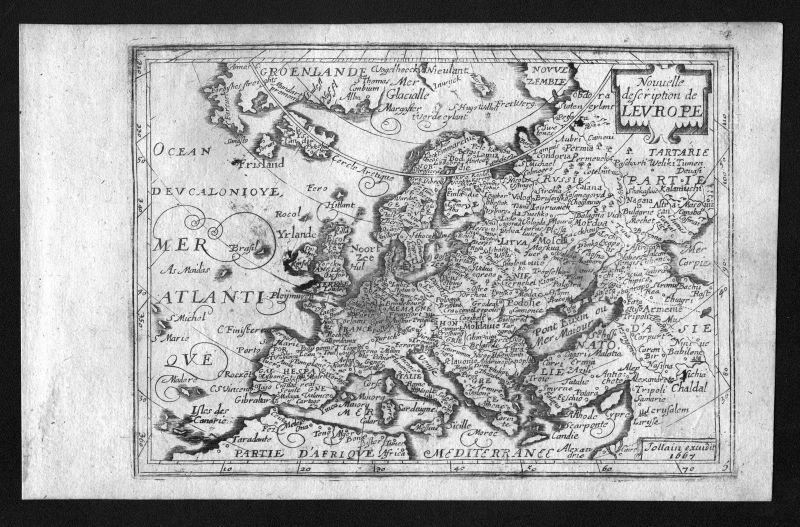 1687 Europe Europa continent Kontinent Jollain map carte Karte engraving antique