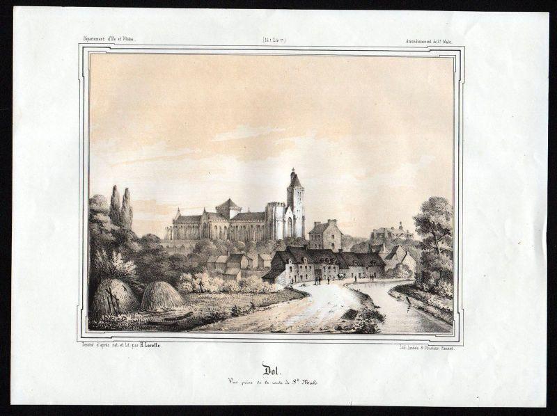 Ca. 1845 Dol-de-Bretagne Saint-Malo Ille-et-Vilaine Bretagne France Lithographie