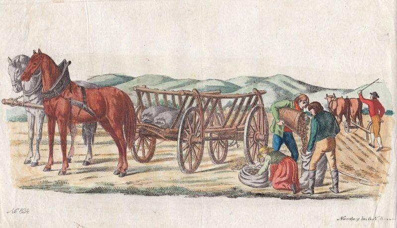 Ca. 1860 Pferde Bauern Farm farming farmers horses Lithographie Bilderbogen