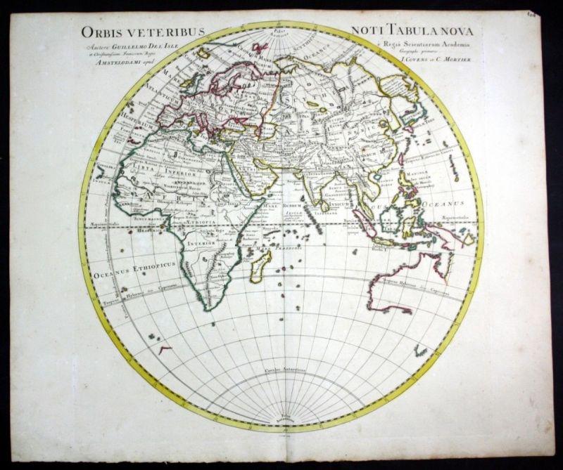Ca. 1730 World map Weltkarte Australia Asia map Karte Covens Mortier engraving