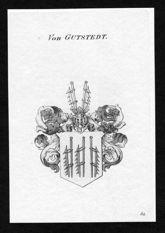 1820 - Gustedt Wappen Adel coat of arms heraldry Heraldik Kupferstich