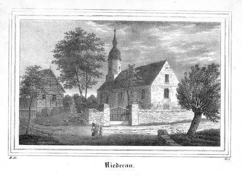 1840 - Niederau LK Meißen Sachsen Lithographie lithograph