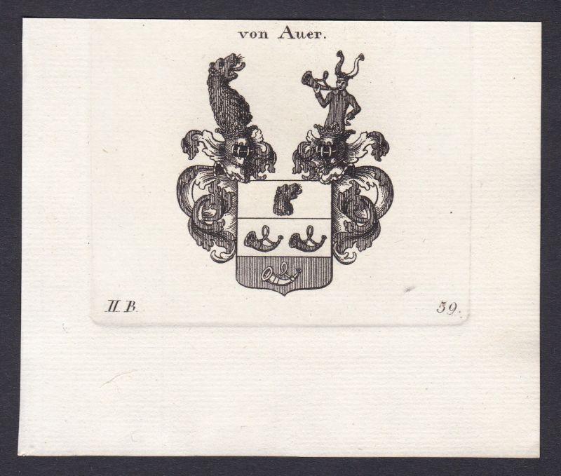 Auer Bayern Wappen Adel coat of arms heraldry Heraldik Kupferstich antique print