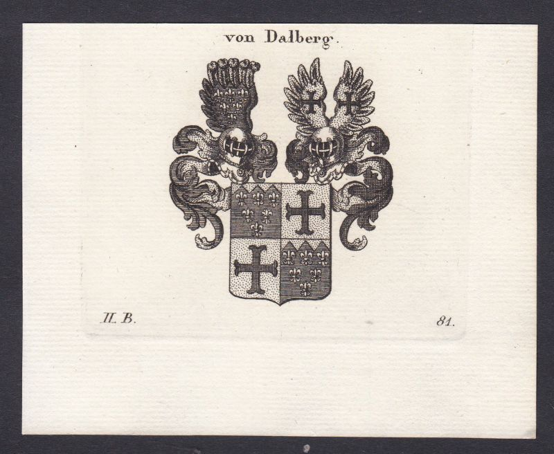 Dalberg Mittelrhein Wappen Adel coat of arms Heraldik Kupferstich antique print