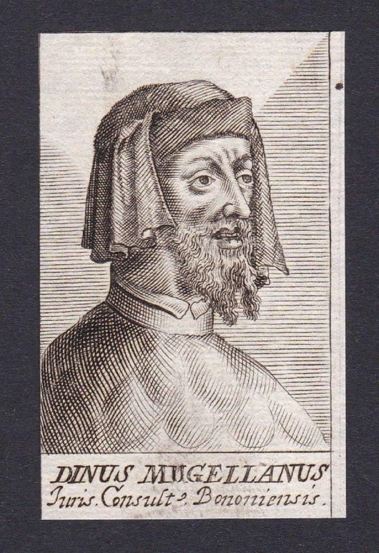 17. Jh. Dinus de Rossonis Mugellanus lawyer Jurist Bologna Portrait Kupferstich