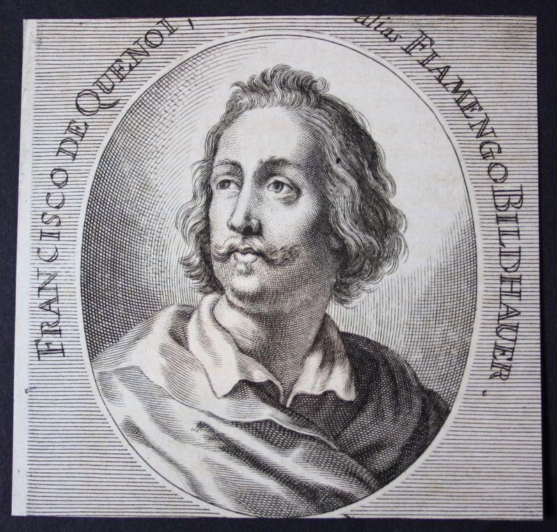 1700 Francisco de Quenoi Bildhauer sculptor Kupferstich etching Portrait