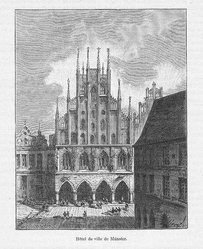 1880 -Münster Rathaus Original Holzstich engraving gravure