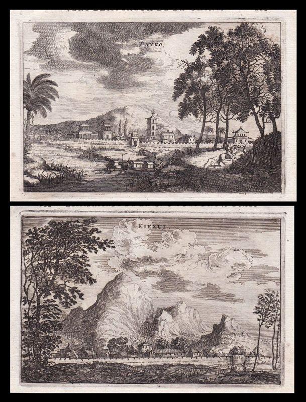 China Xiajiang city mountains Ansicht view Kupferstich antique print Nieuhof